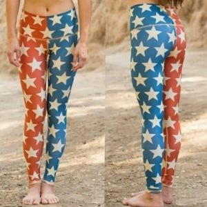 Teeki American flag star yoga leggings pants NWOT